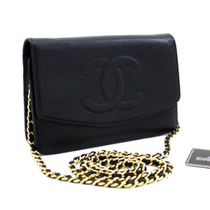 CHANEL Caviar Wallet On Chain WOC Black Shoulder Bag Crossbody t33-hannari-shop