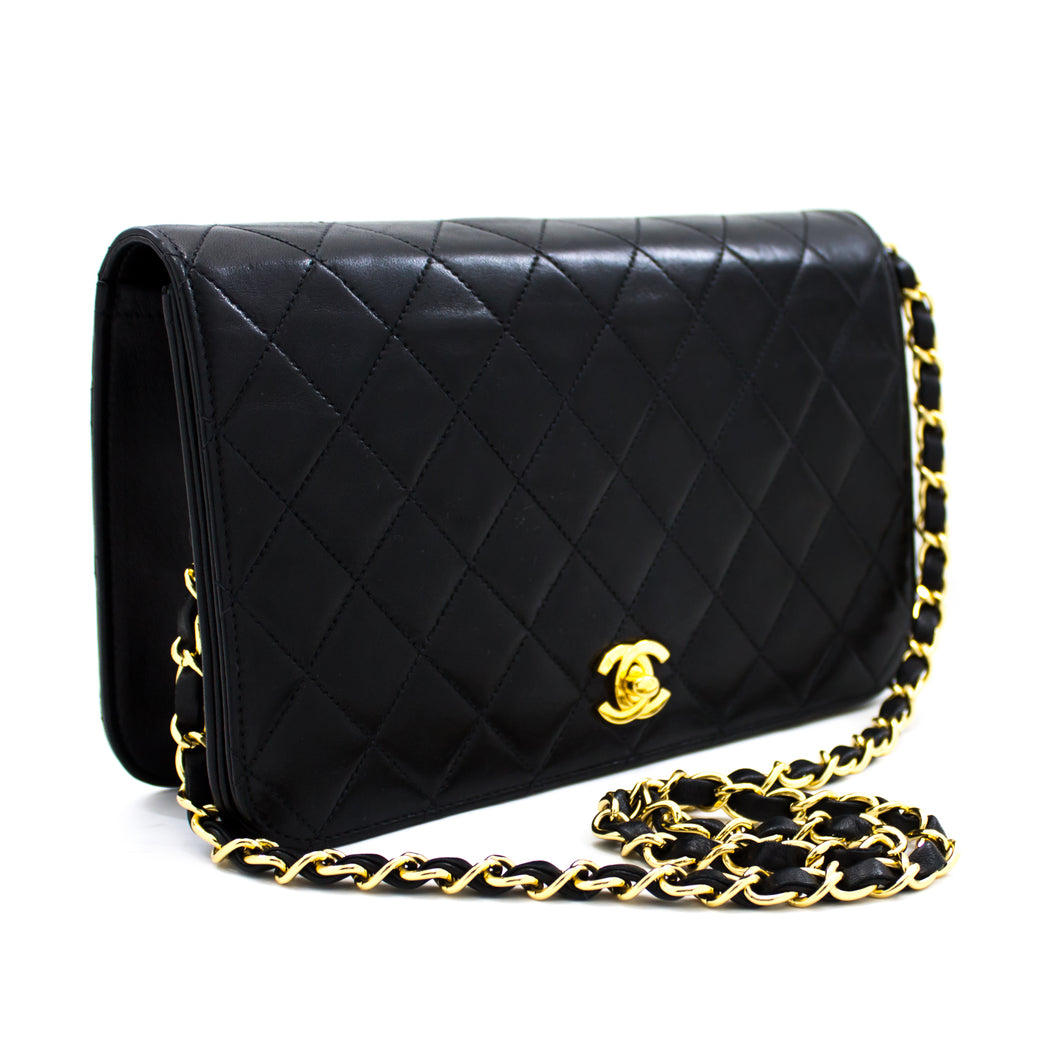 CHANEL Chain Shoulder Bag Clutch Black Quilted Flap Lambskin u39-hannari-shop