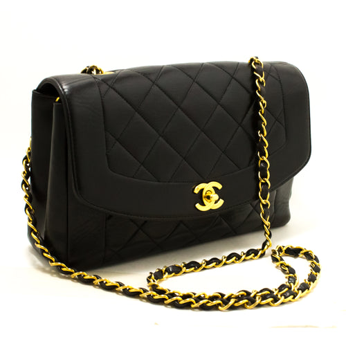 CHANEL Diana Flap Chain Shoulder Bag Crossbody Black Quilted Lamb Q57