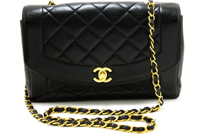 CHANEL Diana Flap Chain Shoulder Bag Crossbody Black Quilted Lam Q57-Chanel-hannari-shop