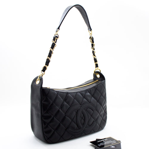 CHANEL Caviar Chain One Shoulder Bag Black Quilted Leather Zipper u91 hannari-shop