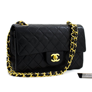 "CHANEL 2.55 Double Flap 9 ""Classic Chain Shoulder Bag Black Lamb y39 hannari-shop"