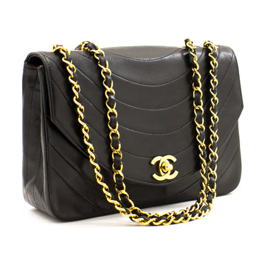 CHANEL Half Moon Vintage Chain Shoulder Bag Black Quilted Flap a20 hannari-shop