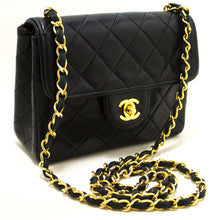 CHANEL Navy Mini Square Piccula catena à spalla Sacchettu Crossbody Purse R62