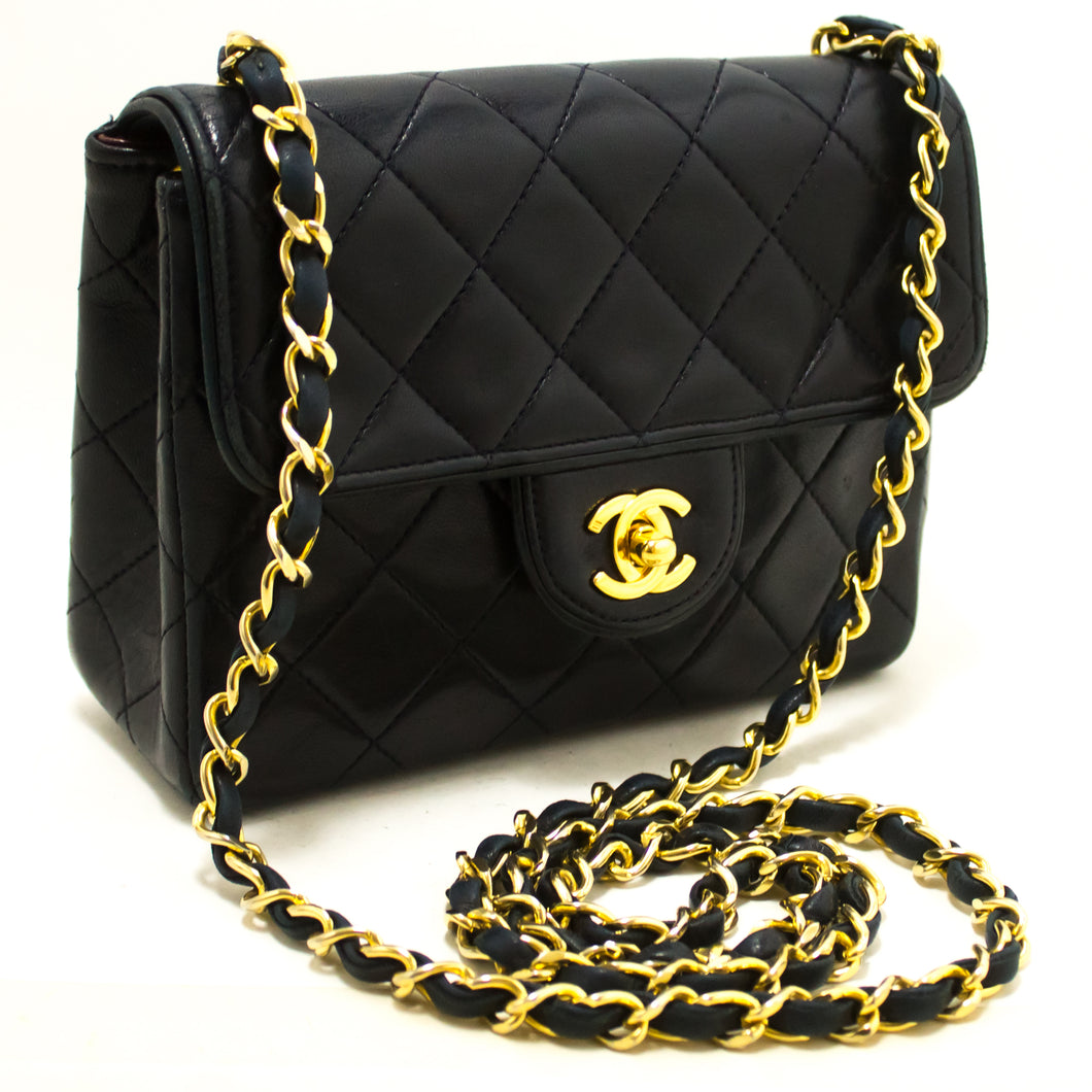 CHANEL Navy Mini Square Small Chain Shoulder Bag Crossbody Purse R62