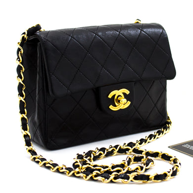 CHANEL Mini Square Small Chain Shoulder Bag Crossbody Black u34