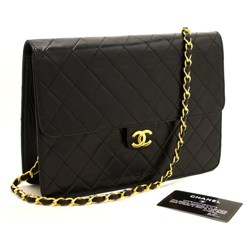CHANEL Chain Shoulder Bag Clutch Black Quilted Flap Lambskin Q30