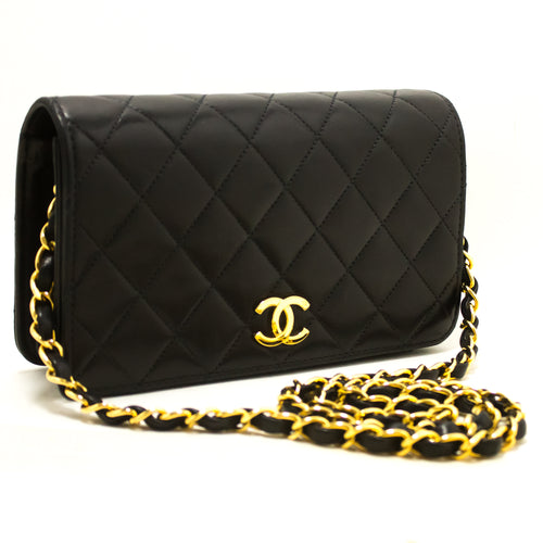 CHANEL Small Chain Shoulder Bag Clutch Black Quilted Flap Lambskin R60-Shoulder Bag-hannari-shop