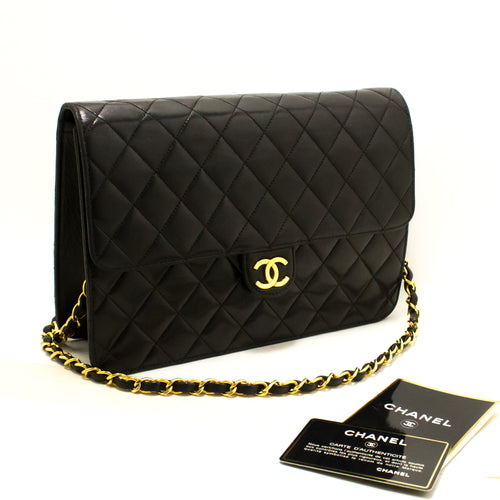 CHANEL Chain Shoulder Bag Clutch Black Quilted Flap Lambskin Q75