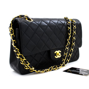 "CHANEL 2.55 Double Flap 10"" Chain Shoulder Bag Black Lambskin u43 hannari-shop"