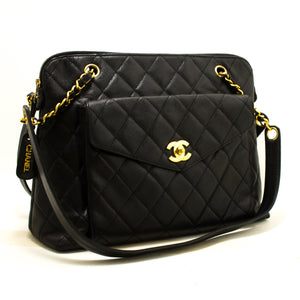 CHANEL Caviar Quilted Chain Shoulder Bag Black Leather Gold Zipper Q04