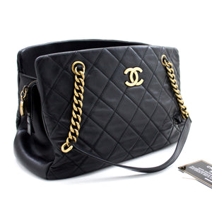 CHANEL Chain Shoulder Bag Black Quilted Lambskin Leather Zipper t39