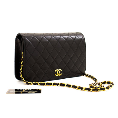 CHANEL Full Flap Chain Shoulder Bag Clutch Black Quilted Lambskin a23 hannari-shop