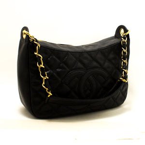 CHANEL Caviar Chain One Shoulder Bag Black Quilted Leather Zipper Q84