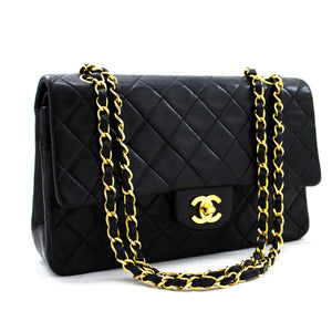 "CHANEL 2.55 Double Flap 10"" Chain Shoulder Bag Black Lambskin y36 hannari-shop"