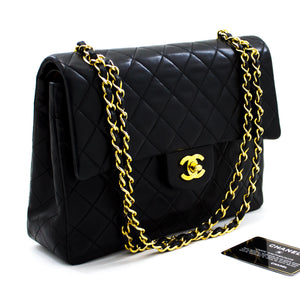 CHANEL 2.55 Double Flap Medium Chain Shoulder Bag Black Lambskin x08 hannari-shop