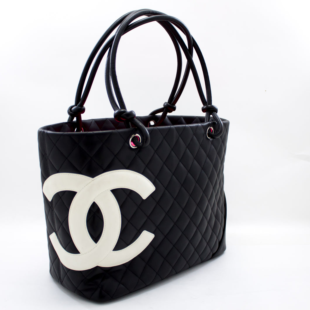 CHANEL Cambon Tote Large Shoulder Bag Black White Quilted Calfskin t36-hannari-shop