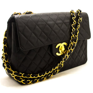 "CHANEL Jumbo 13"" Maxi 2.55 Flap Chain Shoulder Bag Black Lambskin i09-Chanel-hannari-shop"