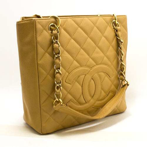 CHANEL Caviar PST Chain Shoulder Bag Shopping Tote Beige Quilted Q51