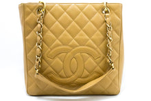 CHANEL Caviar PST Ketting Skoudertas Shopping Tote Beige Quilted Q51-Chanel-hannari-winkel