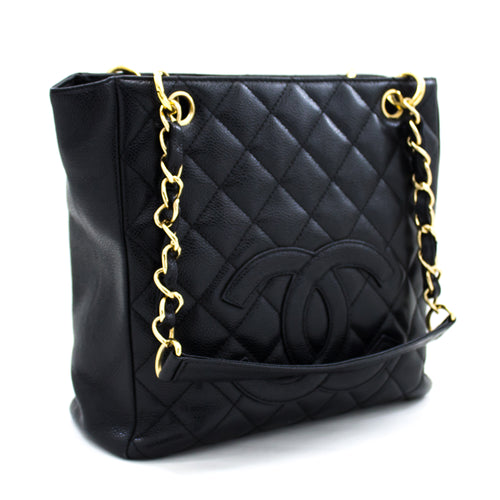 CHANEL Caviar PST ჯაჭვის მხრის ჩანთა Shopping Tote Black Quilted t59-hannari-shop