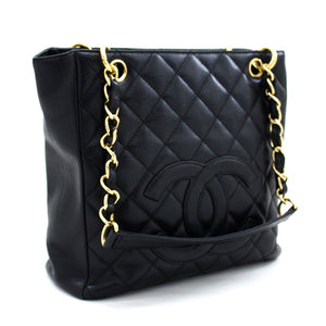 CHANEL Caviar PST Chain Shoulder Bag Shopping Tote Black Quilted t59-hannari-shop