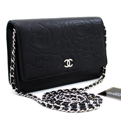 CHANEL Black Camellia Embossed Wallet On Chain WOC Shoulder Bag u30-hannari-shop