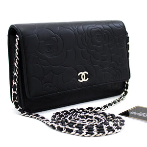 CHANEL Black Camellia Embossed Wallet On Chain WOC Shoulder Bag u30