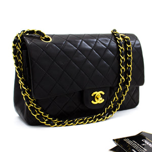 "CHANEL 2.55 Double Flap 10"" Chain Shoulder Bag Black Lambskin x05 hannari-shop"