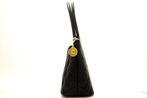 CHANEL Caviar Gold Medallion Shoulder Bag Black Leather Tote p50-Chanel-hannari-shop