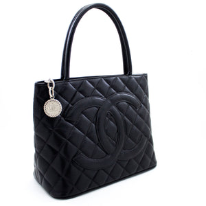 CHANEL Silver Medallion Caviar Shoulder Bag Shopping Tote Black t42-hannari-shop