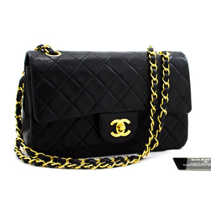 "CHANEL 2.55 Double Flap 9"" Chain Shoulder Bag Black Lambskin Purse y38 hannari-shop"