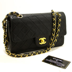"CHANEL 2.55 Double Flap 9"" Chain Shoulder Bag Black Quilted Lamb R76-Shoulder Bag-hannari-shop"
