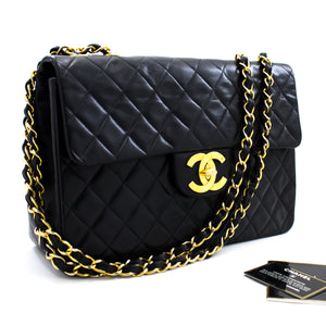 "CHANEL Jumbo 13"" Maxi 2.55 Flap Chain Shoulder Bag Black Lambskin x07 hannari-shop"