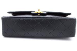 "CHANEL 2.55 Double Flap 10 ""Chain Shoulder Bag Black Lambskin u46-hannari-shop"