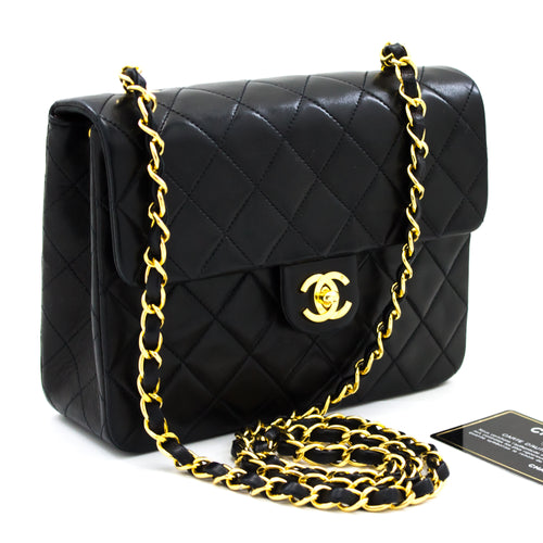 CHANEL Mini Square Small Chain Shoulder Bag Crossbody Black Quilt t41-hannari-shop