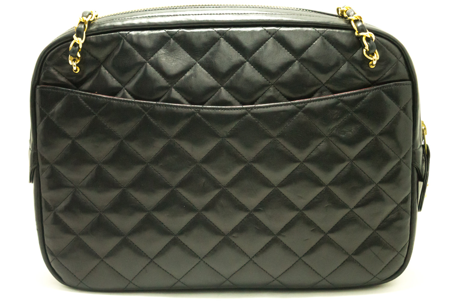 CHANEL Chain Shoulder Bag Black Leather Quilted Lambskin Office ... : leather quilted purse - Adamdwight.com