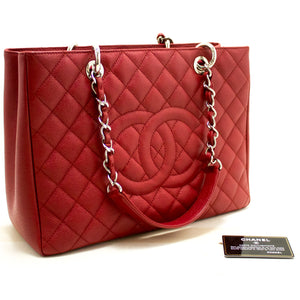 "CHANEL Caviar GST 13"" Grand Shopping Tote Chain Shoulder Bag Red p93"