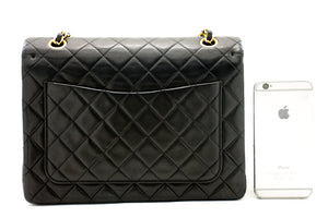CHANEL 2.55 Double Flap Square Chain Taška přes rameno Black Lambskin a54 hannari-shop
