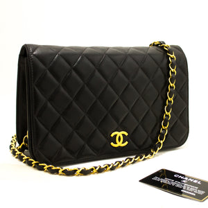 CHANEL Chain Shoulder Bag Clutch Black Quilted Flap Lambskin R01