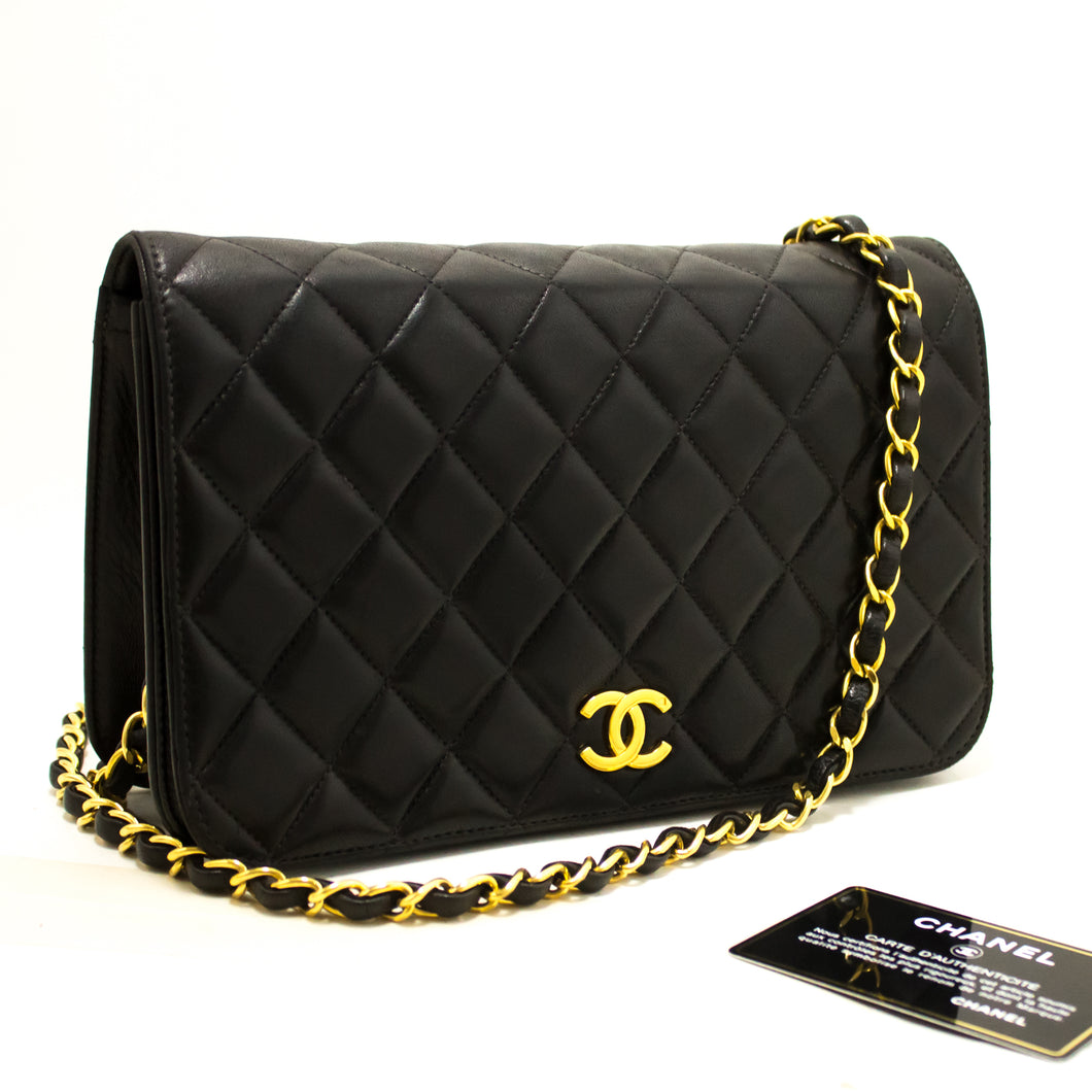 CHANEL Chain Shoulder Bag Clutch Black Quilted Flap Lambskin R01-Chanel-hannari-shop