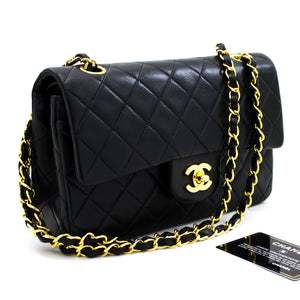 "CHANEL 2.55 Double Flap 9"" Chain Shoulder Bag Black Lambskin x06 hannari-shop"
