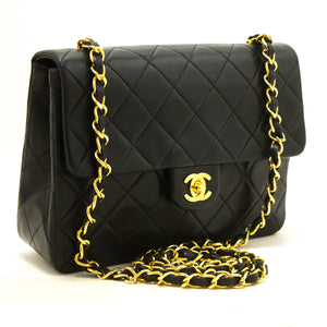 CHANEL Mini Square Small Chain Shoulder Bag Crossbody Black Purse R81-Shoulder Bag-hannari-shop