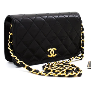 CHANEL Small Chain Shoulder Bag Clutch Black Quilted Flap Lambskin u32-hannari-shop