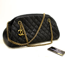 CHANEL Bowling Chain Shoulder Bag Black Quilted Lambskin Gold R06-Chanel-hannari-shop