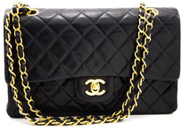 "CHANEL 2.55 Double Flap 10 ""Chain Bag Shoulder Bag Pelle di Agnellu Nera u42-hannari-shop"