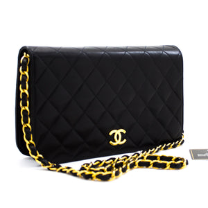 CHANEL Chain Shoulder Bag Clutch Black Quilted Flap Lambskin Purse y33 hannari-shop