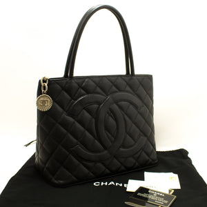 CHANEL Silver Medallion Caviar Shoulder Bag Shopping Tote Black p67