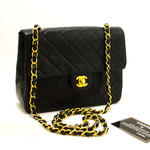 CHANEL Mini Square Small Chain Shoulder Bag Crossbody Black Purse R73-Messenger & Cross Body Shoulder Bag-hannari-shop