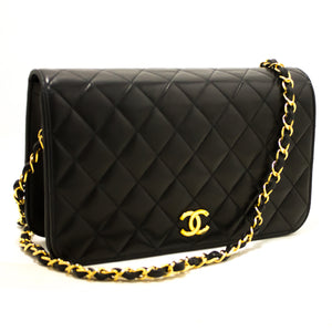 CHANEL Chain Shoulder Bag Clutch Black Quilted Flap Lambskin Q71-hanel-hannari-shop